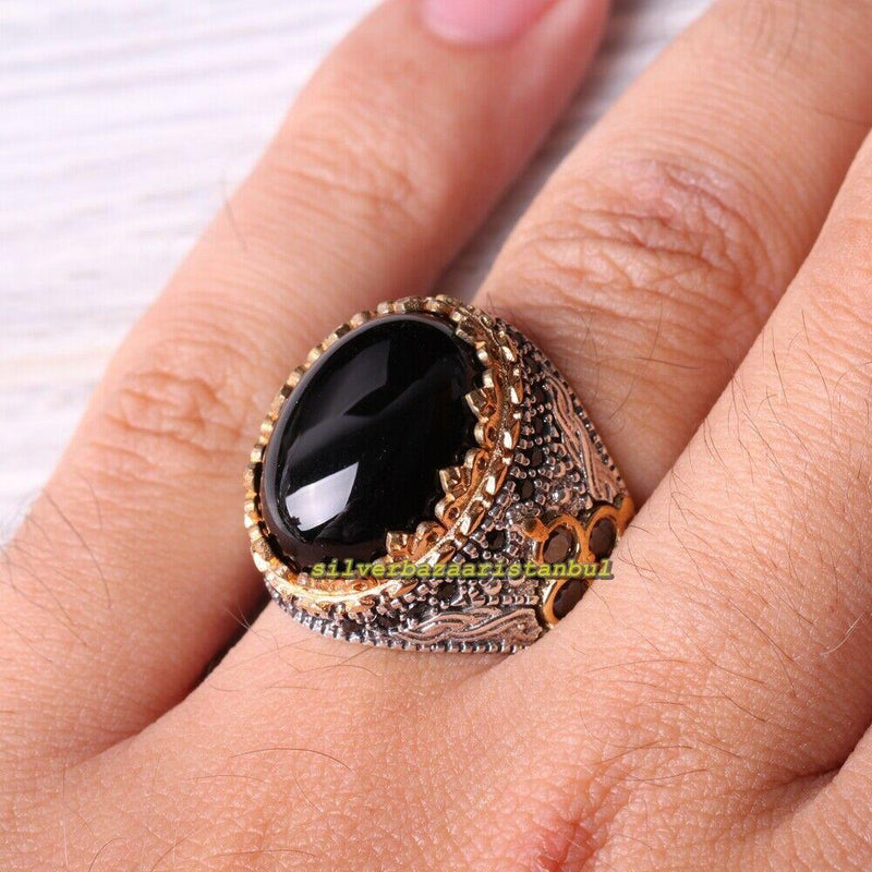 925 STERLING SILVER TURKISH JEWELRY BLACK ONYX MALE FEMALE RING SIZE USA 8,10.5
