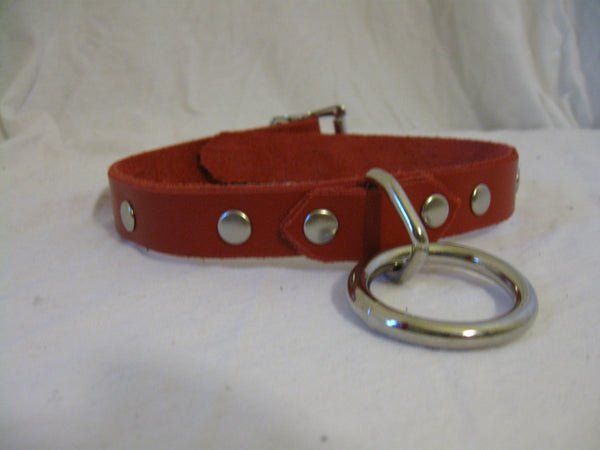 Leather Choker/Collar with Center Ring