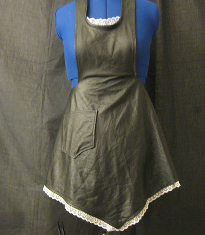 50's Style Leather Apron with Lace Trim