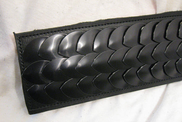 Hand-Made Leather Paddle, With Studded Mult-Color Scales