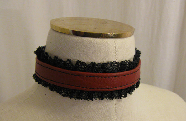 Red Leather and Black Lace Choker