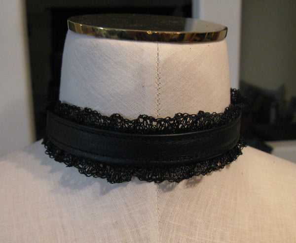 Black Leather and Lace Gothic Choker