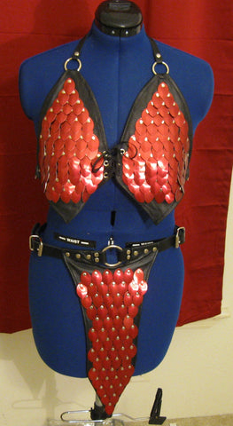 Scalemail and Leather Belly Dancing Bra Top and Full Loincloth Combo