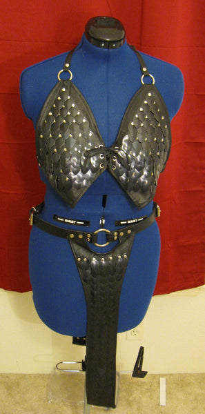 Scalemail and Leather Bra Top and Full Loincloth Slave Girl Costume Combo