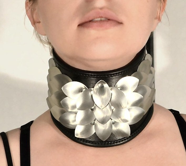 Aluminum and Leather Dragon Scale Wide Costume Collar