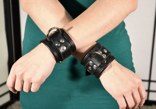 "2"" Wide Leather Lined Wrist Cuffs with Steel D ring and 1"" Strap"