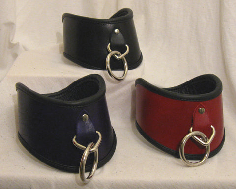 "Hand-Dyed 3"" Locking Severe Posture Collar with Leather backing and locking Fastening"
