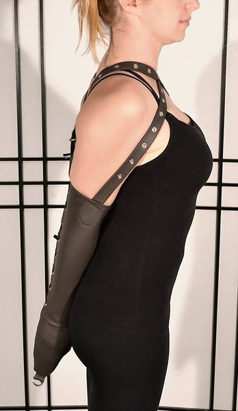 Laced Leather Armbinder - Brown Leather - Size Small (Mature)