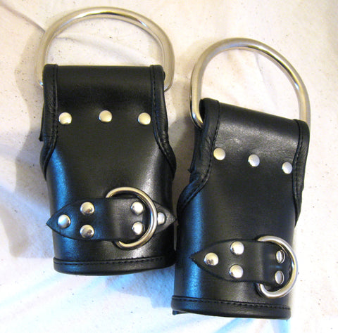Hand Dyed Heavy Duty Leather Lined Suspension Cuffs