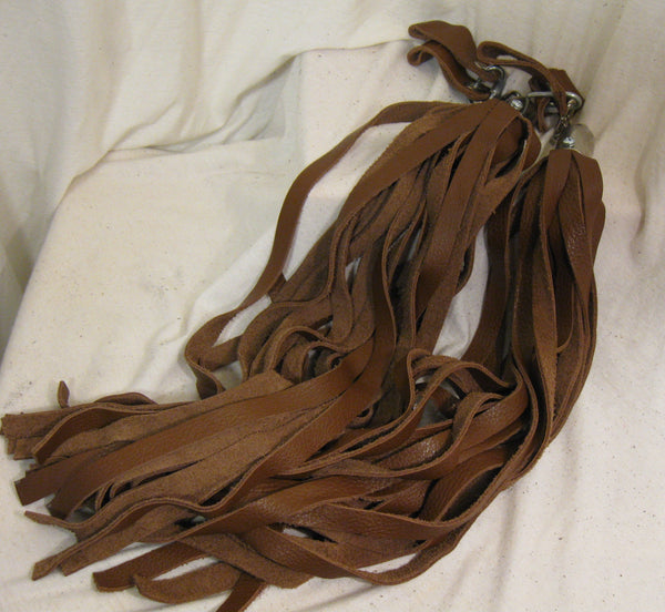 Swivel Flogger in Brown Leather with Matching Finger Loops