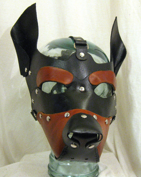 Hand Made and Dyed Leather Puppy Hood