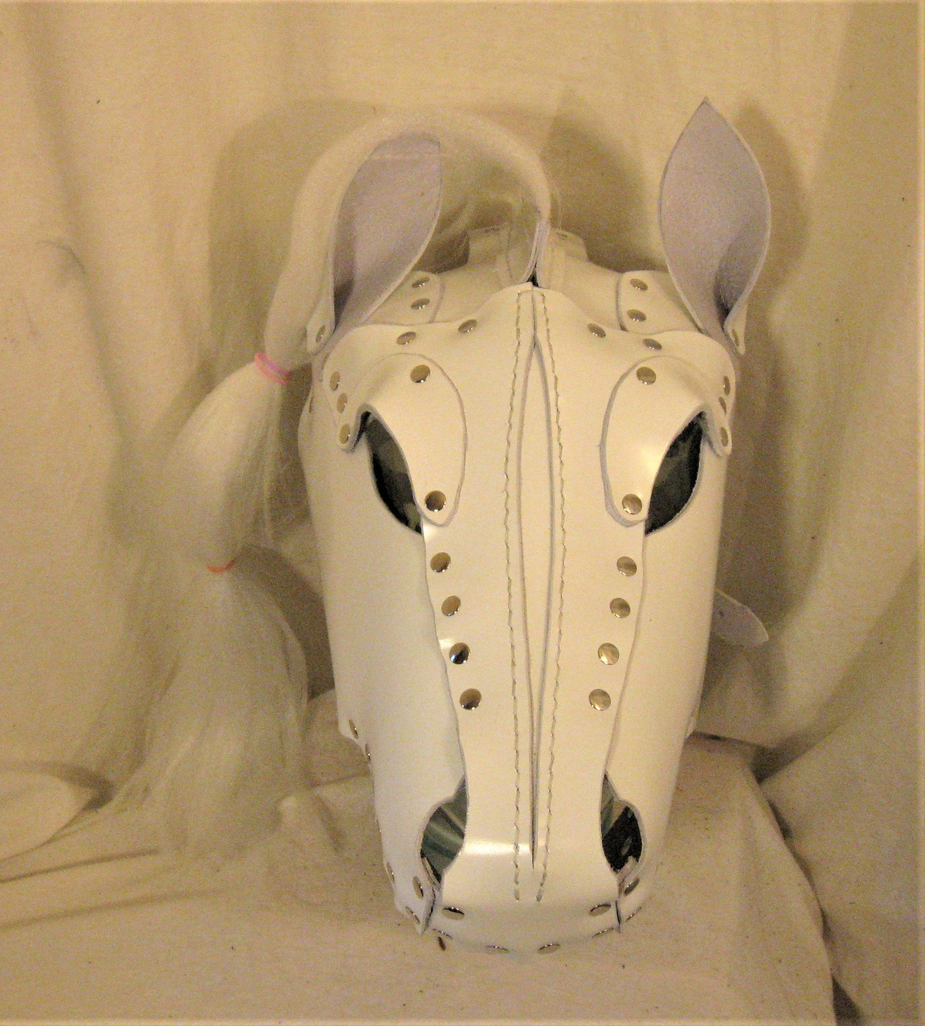 White Patent Leather Styled Pony Hood