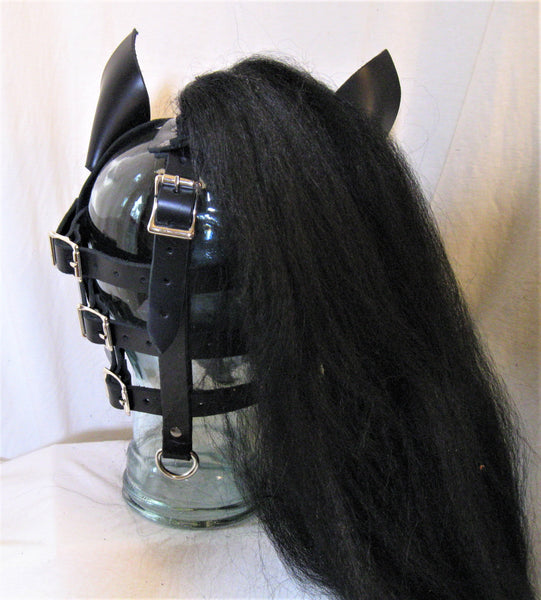 Hand Made Black Leather Pony Hood