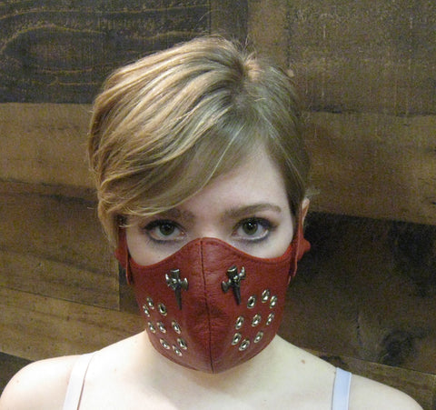 Red Leather Motorcycle Mask or Muzzle