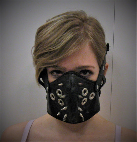 Black Leather Punk Motorcycle Mask or Muzzle