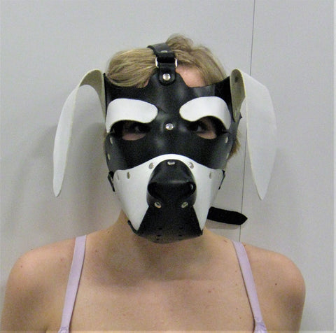 White and Black Hand Made Leather Floppy-Eared Puppy Hood