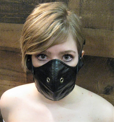 Black Leather Motorcycle Mask or Muzzle