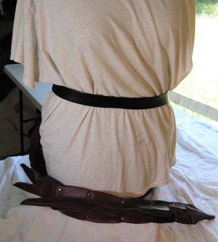 "Leather Molded Belt Mounted 40"" Red Dragon Tail"