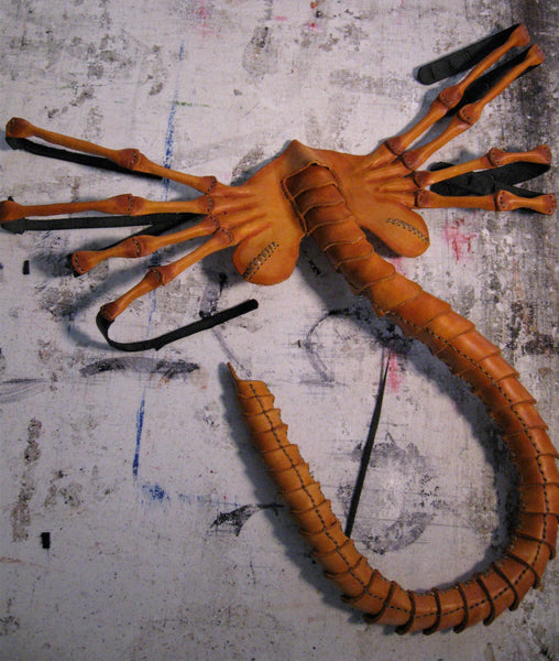 Hand Sewn and Dyed Leather Facehugger Mask
