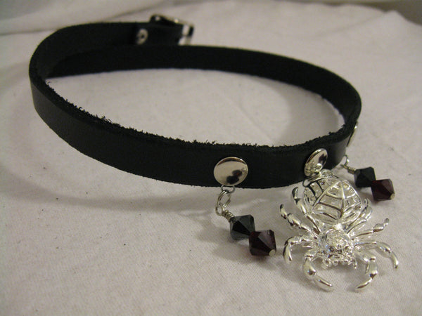 Leather Choker with Spider Pendant