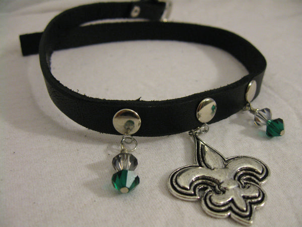 Leather Choker with Silver Fleur Du Li and Precocia Crystals