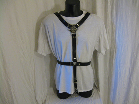Male Body Harness with Adjustable Crotch Strap