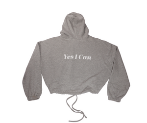 LS Yes I Can Cropped Hoodie