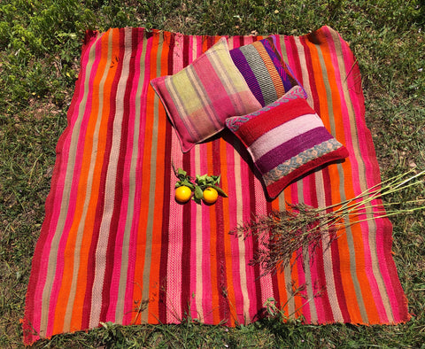 Handwoven rugs from Peru