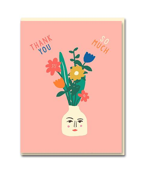 Tarjeta / Greeting Card - Thank you - Vase Face