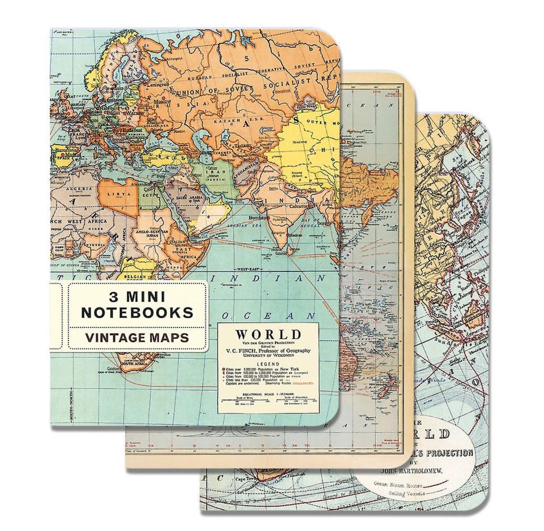 Cavallini 3 mini notebooks vintage maps