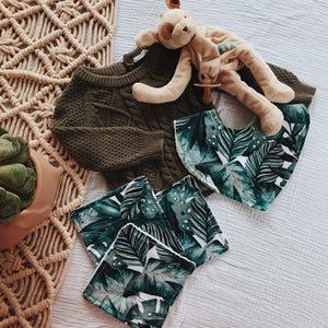 Small Gift Bundle- Palm Leaf Bandana Baby Bib and 3 Square Face Washers