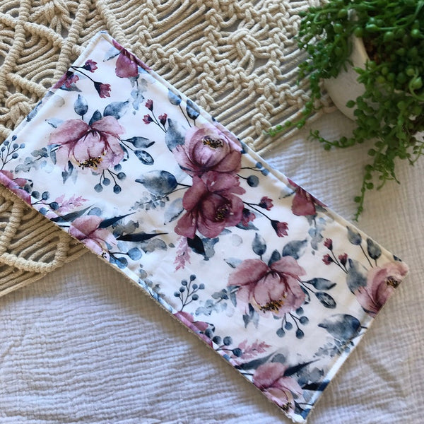 Pink, White and Purple Floral Burp Cloth Gift Set
