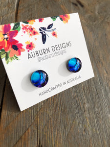 Deep Blue Watercolour Earrings