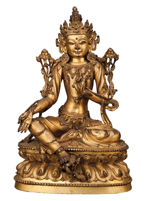 Chinese Gilt Bronze Figure of Avalokitesvara