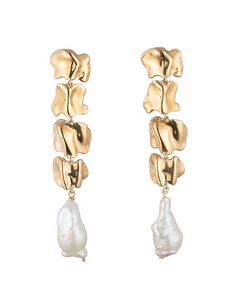 STERLING KING VERTEBRAE PEARL EARRING/ Gold