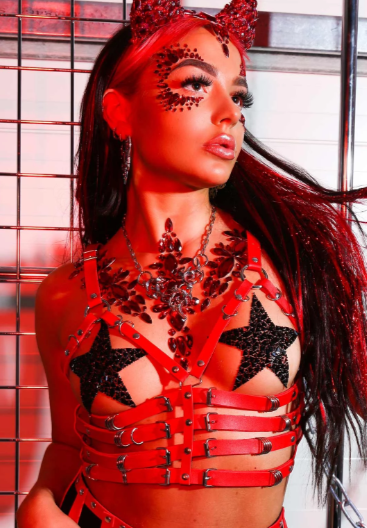 Gypsy Shrine model in red tinsel extensions.