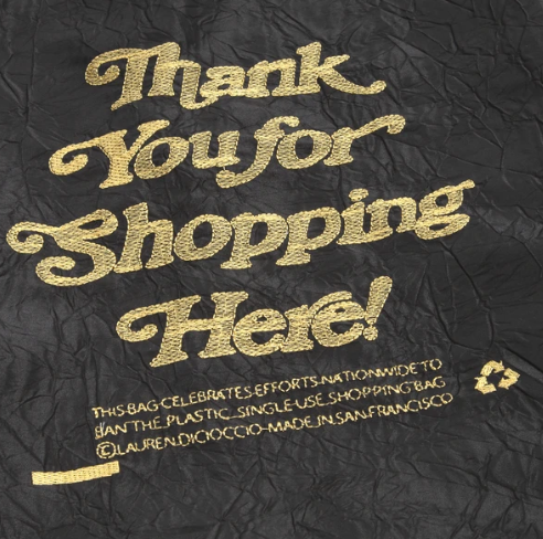 OPEN EDITIONS Thank You For Shopping Here Tote Black x Gold front