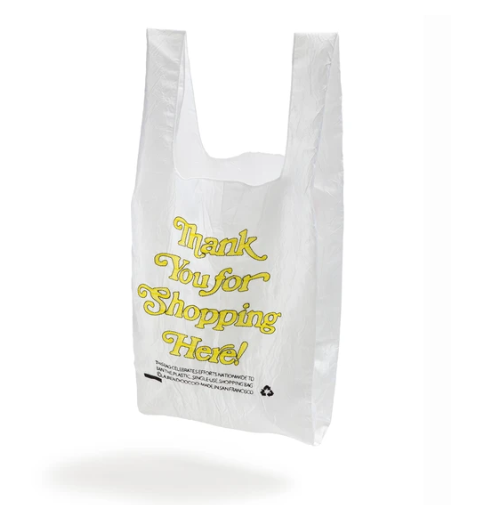 OPEN EDITIONS Thank You For Shopping Here Tote White x Yellow