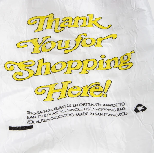 OPEN EDITIONS Thank You For Shopping Here Tote White x Yellow front