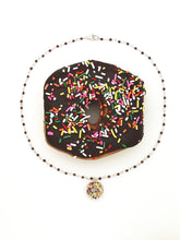 Load image into Gallery viewer, GARNET DONUT PENDANT NECKLACE