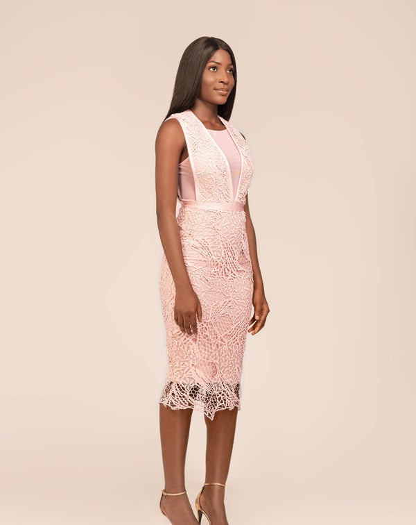 Blush pink lace and mesh bandage midi dress