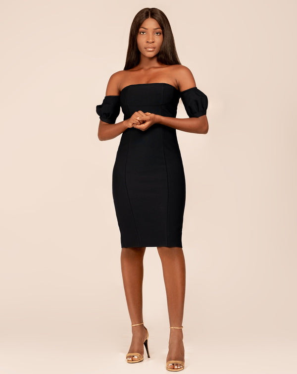 Black off shoulder midi bandage dress