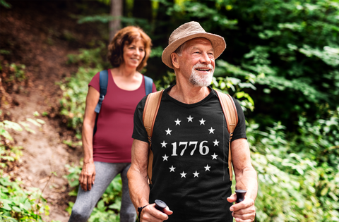 Older couple enjoying a health life and great hike through the forest