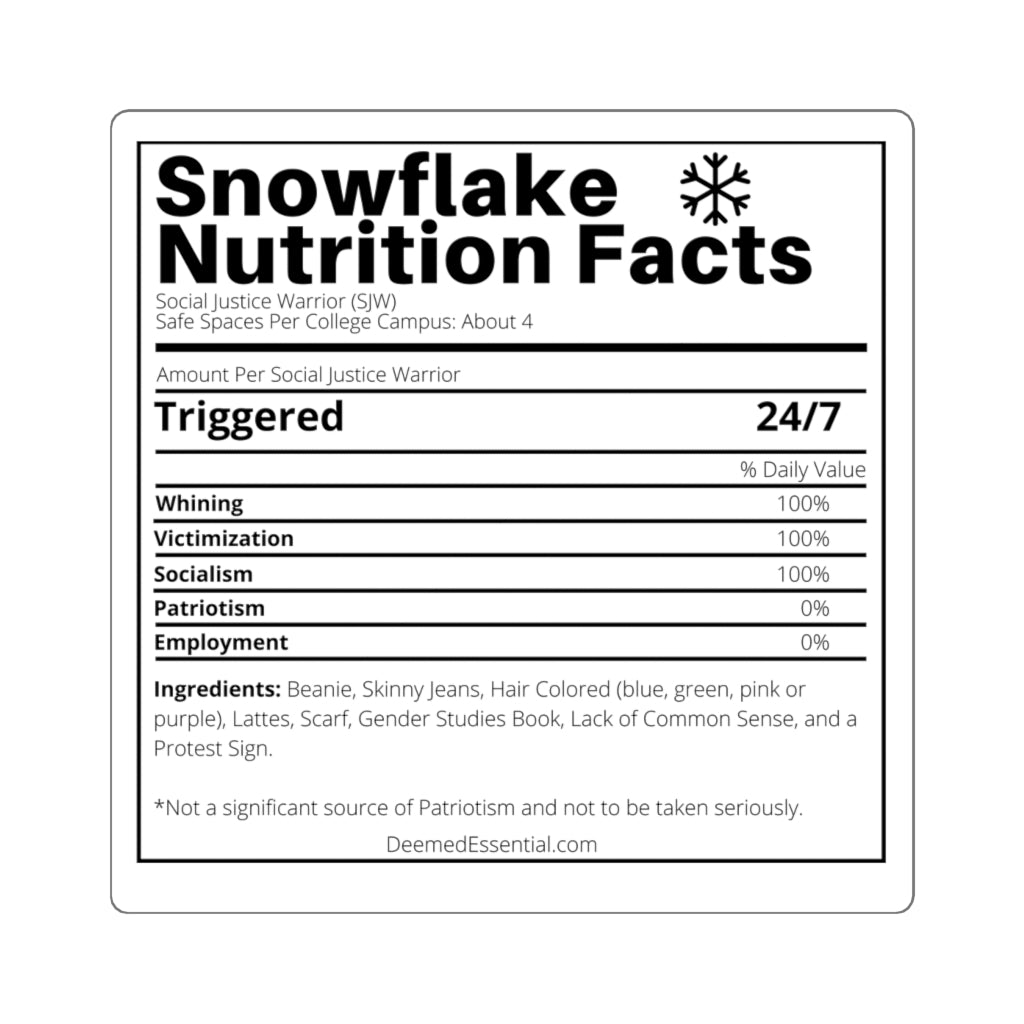 Snowflake Nutrition Facts Sticker