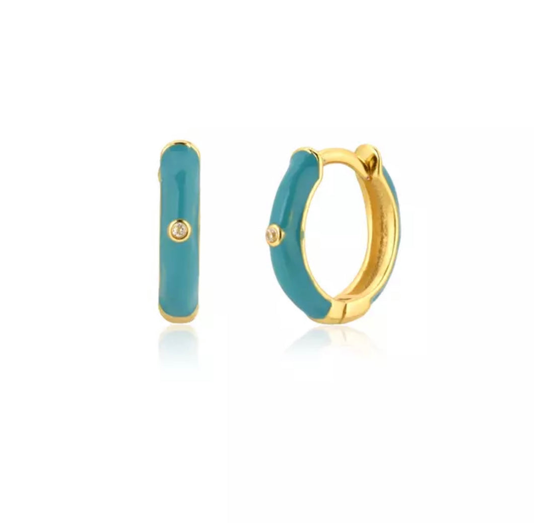 Pink Sand Hoop Turquoise