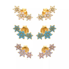 Load image into Gallery viewer, Three Flower Stud Turquoise