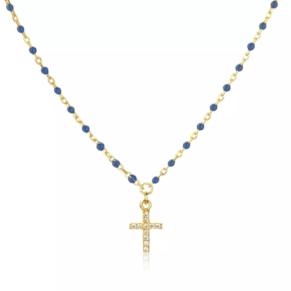 Cross Navy Necklace