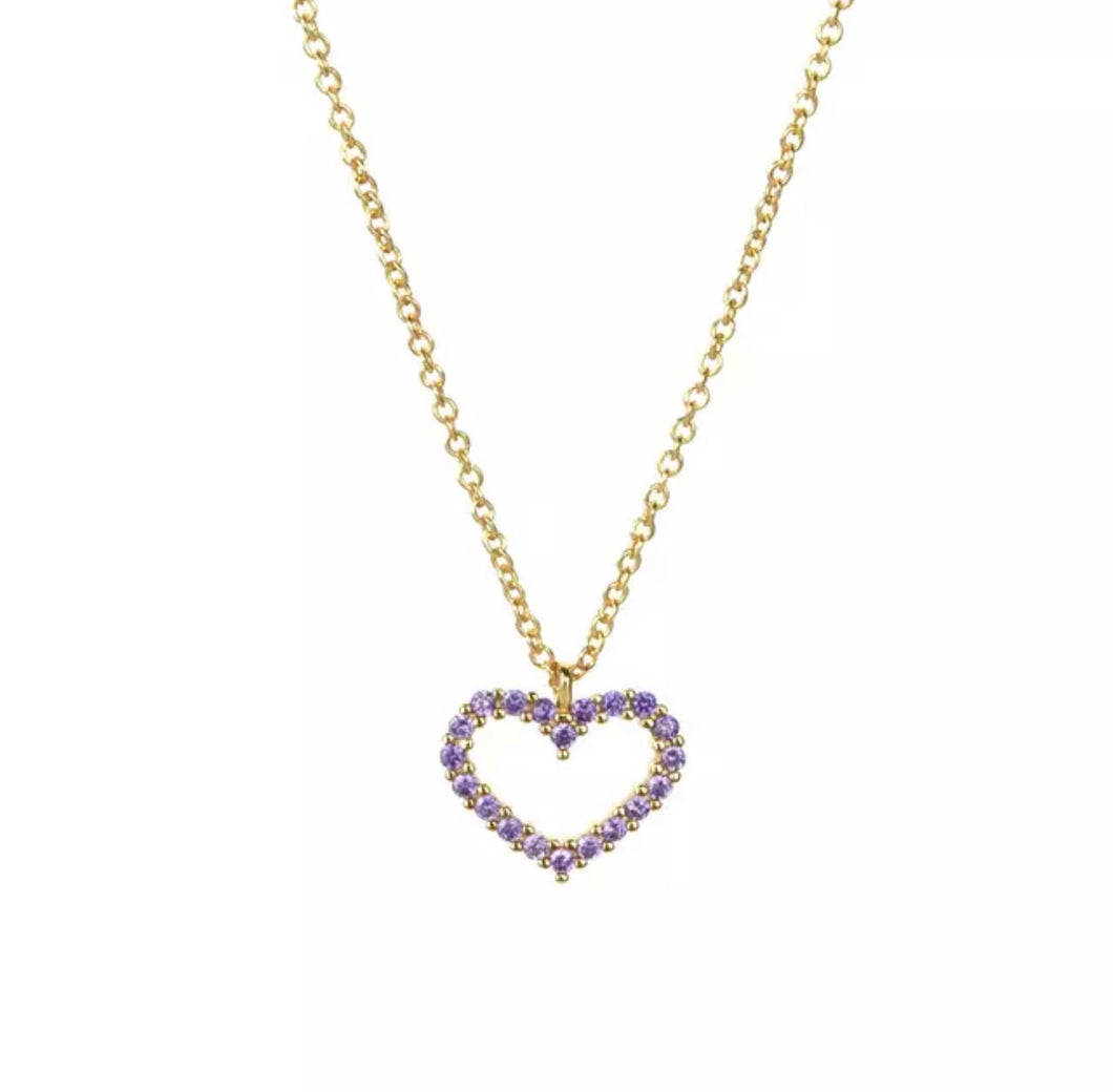 Heart Mini Necklace Lilac