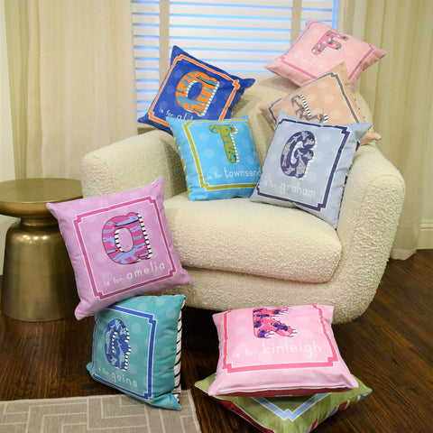 Name & initial pillow in alnimal alphabet