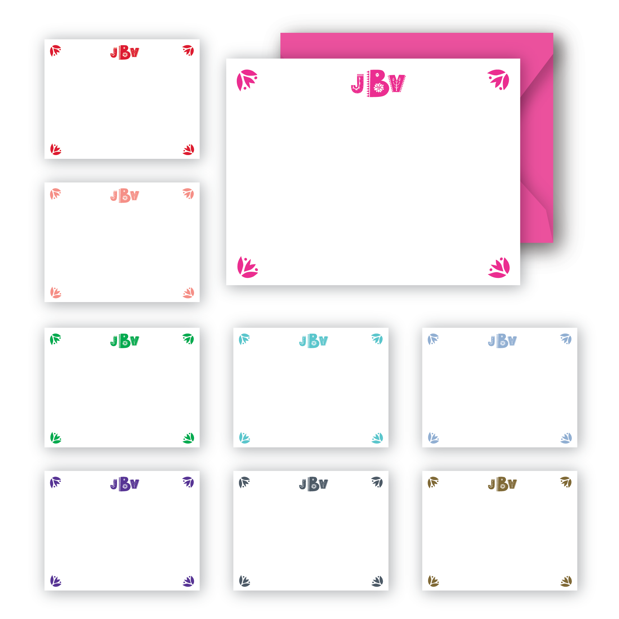 Fiesta monogram notecards